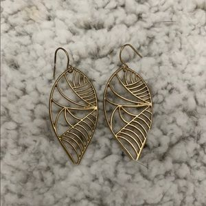 Gold leaf shaped earrings